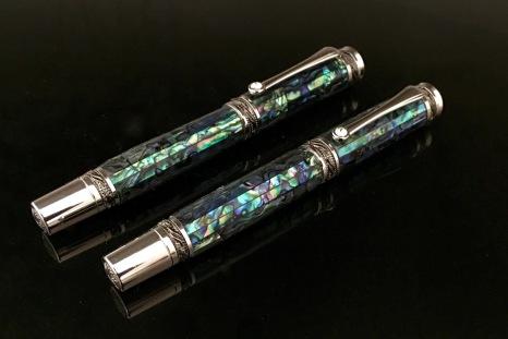 aua Abalone Natural Rollerball & Fountain Pen Set