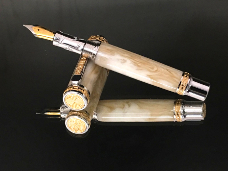 Vintage Cream Swirl Bakelite Fountain Pen