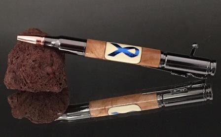 Thin Blue Line Ribbon Bolt Action Pen