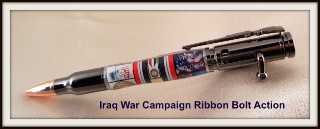 Handmade pen, rollerball, fountain pen, ballpoint, bespoke pen, fine writing instruments, pen, wood pen, bolt action, bolt action pen, Iraq War Campaign Ribbon Bolt Action