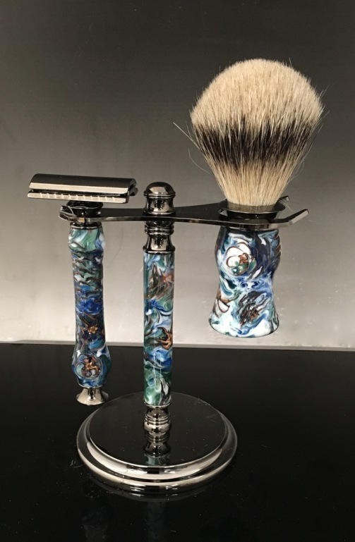 custom shaving brush, handmade razor, handmade shaving brush, shaving set, gift shaving sets, custom made gift shaving sets