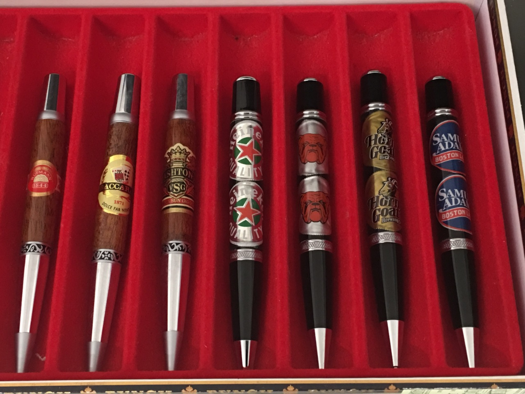 Cigar Label & Beer Cap Twist Pens